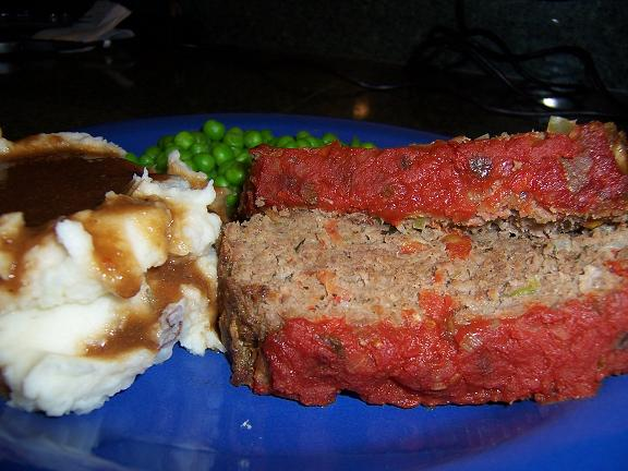 Tasty Meatloaf with Red Mashed Potatoes, Gravy and Peas