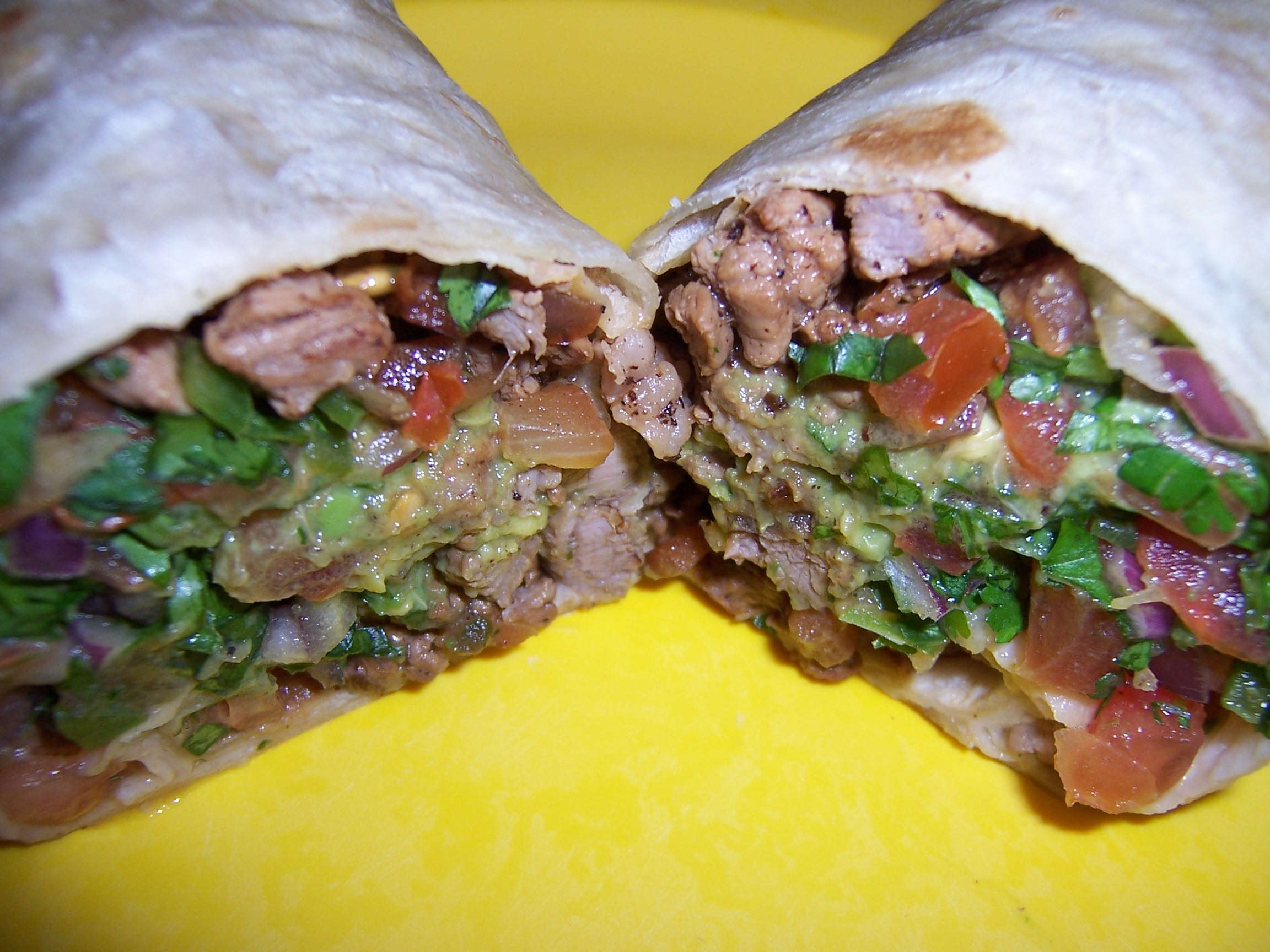 Carne Asada Burrito with Guacamole and Pico De Gallo | One ...