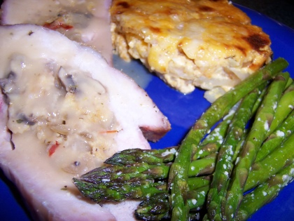 Stuffed Pork Loin with Au Gratin Potatoes and Roasted Asparagus