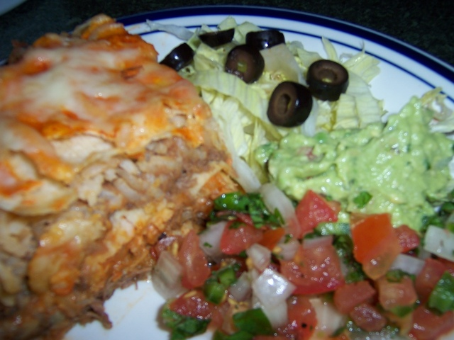 Mexican Lasagna with Shredded Beef, Beans and Rice