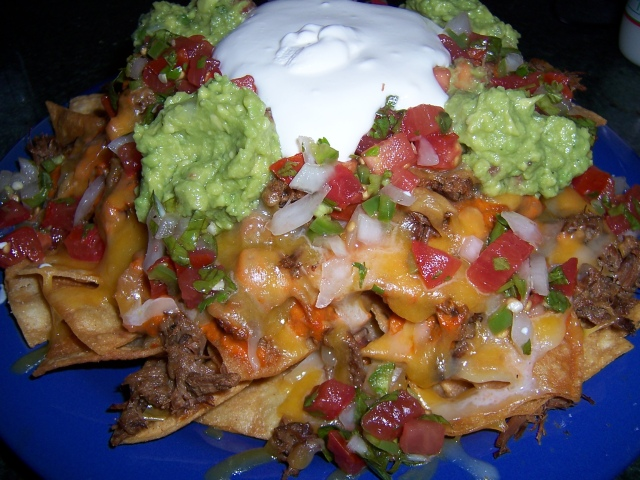Nachos ( Overloaded ) with Shredded Beef, Refried Beans, 2 ...