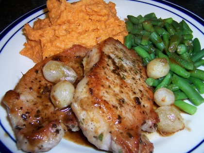 Pork Chops and Mashed Yams with Apple Juice Gravy and Green Beans