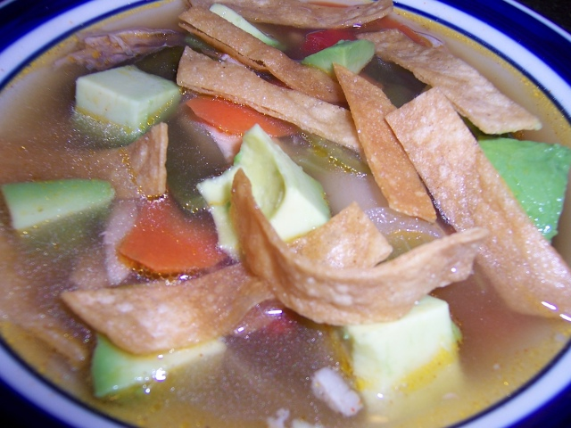 Chicken Tortilla Soup with Roasted Pablano Chili and Vegetables