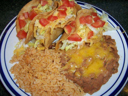 Mexican Style Shredded Chicken Tacos with Rice and Beans