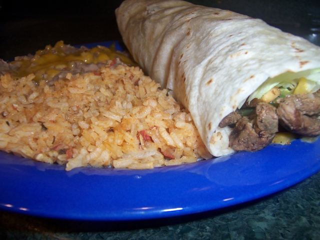 Fajita Burrito with Rice and Beans