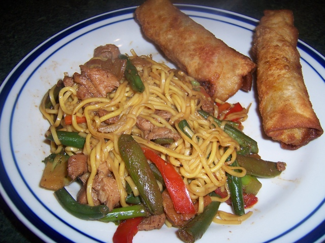 Teriyaki Chicken, Vegetable And Noodle Stir Fry With Vegetable Egg Rolls